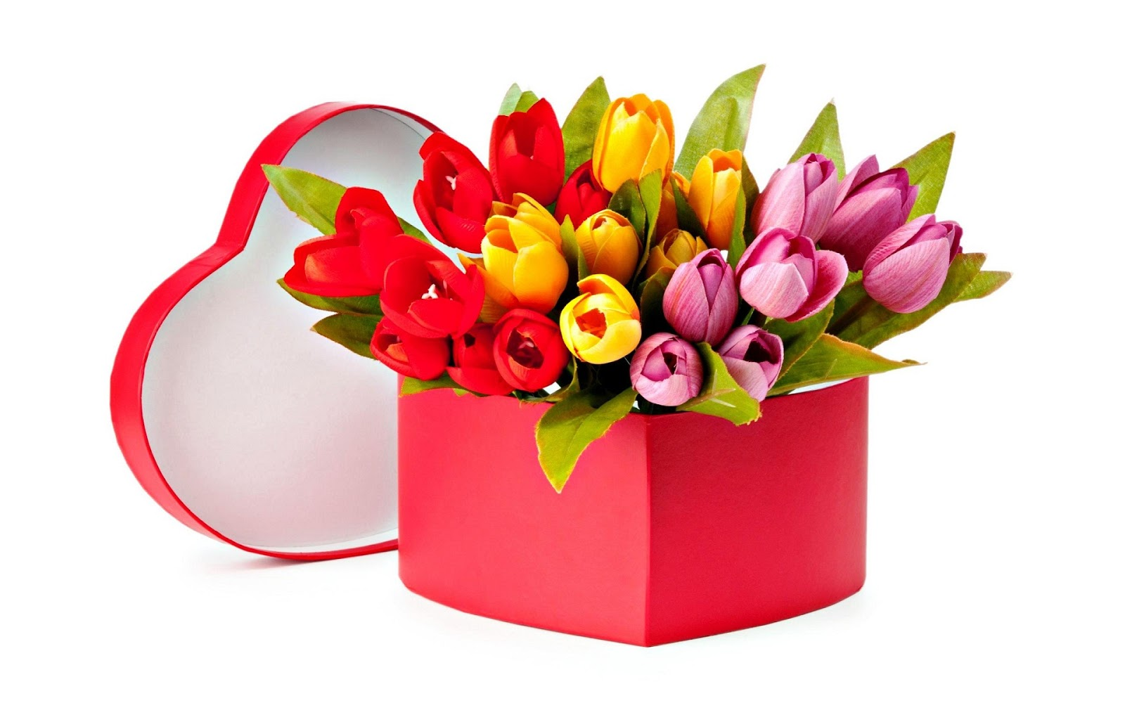 Heart-shape-gift-box-of-tulip-flowers